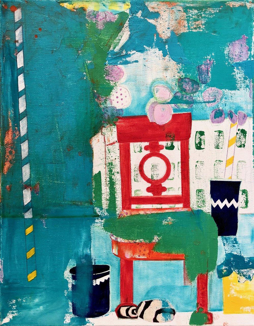 porquerolles, chair + rocks    oil + pencil on canvas  |  14 x 11