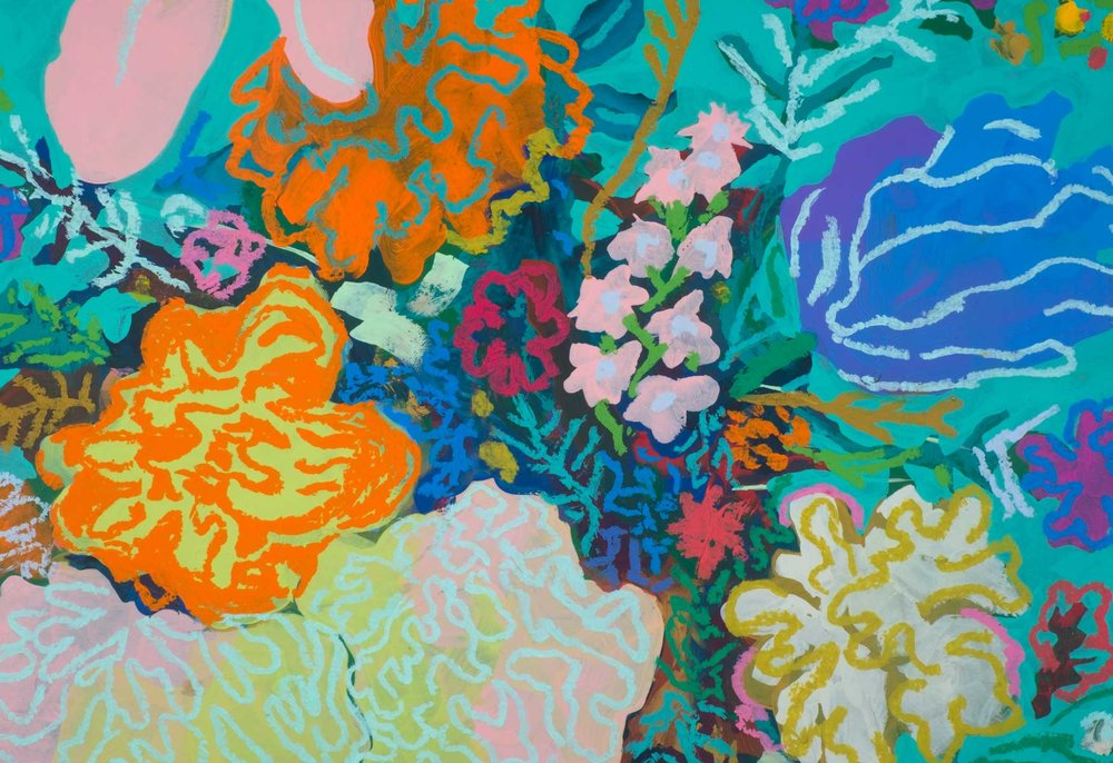 Floral on Teal no. 4 detail