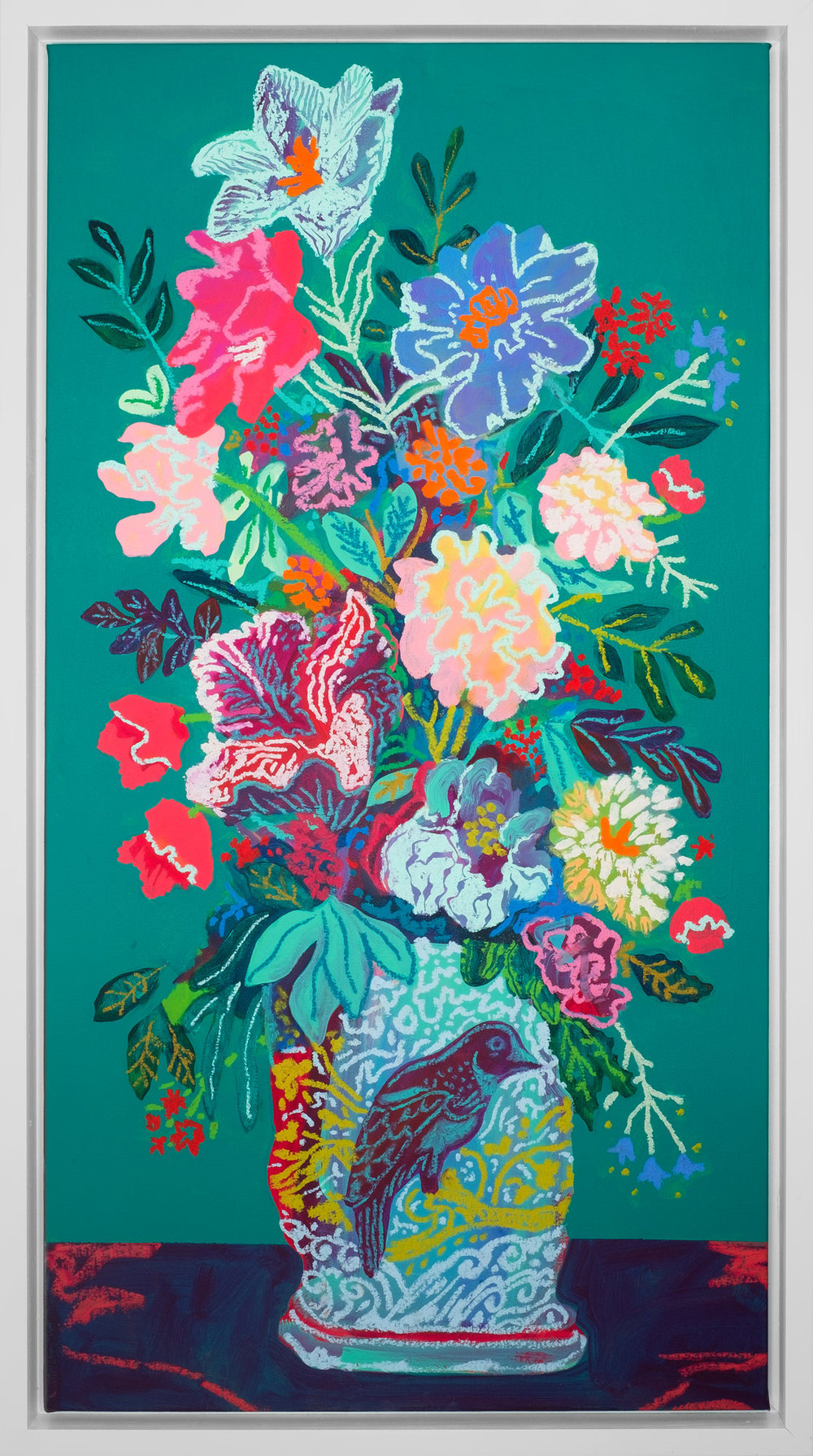 Floral on Dark Green, acrylic and oil, 2017