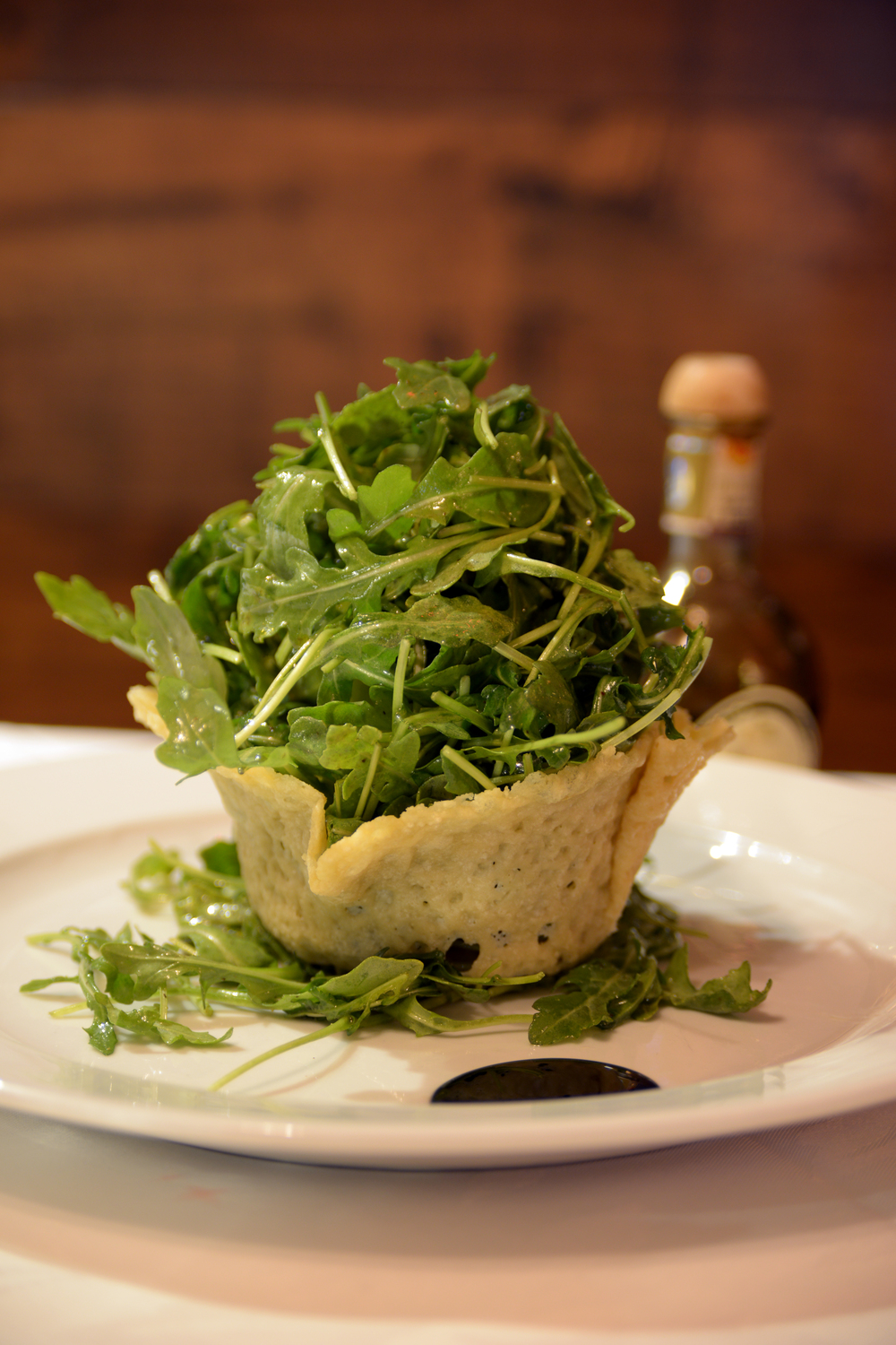 Arugula Salad in Parmigiano Reggiano Cheese Basket