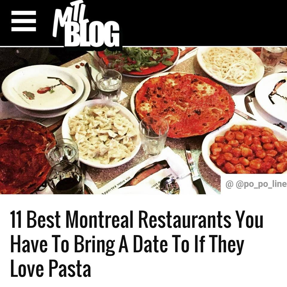 Mtl blog bis up on mtl blog this week as one of the best 11 restaurants to bring a date if they love pasta honored to be among some of the best italian restaurants in forumfinder Images