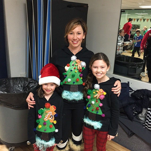 Ugly Christmas Sweater Contest winners! The Ruff family!