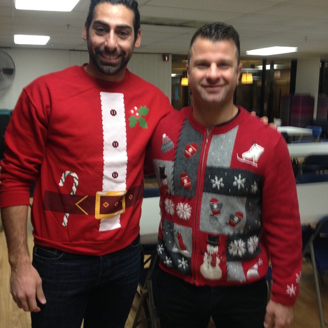 "CSA Christmas Party! ""Ugly Sweater Contest"" contestants coach Tim and Martin"