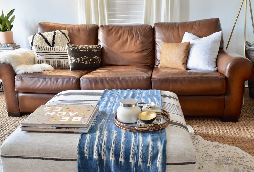 couch with decorative pillows