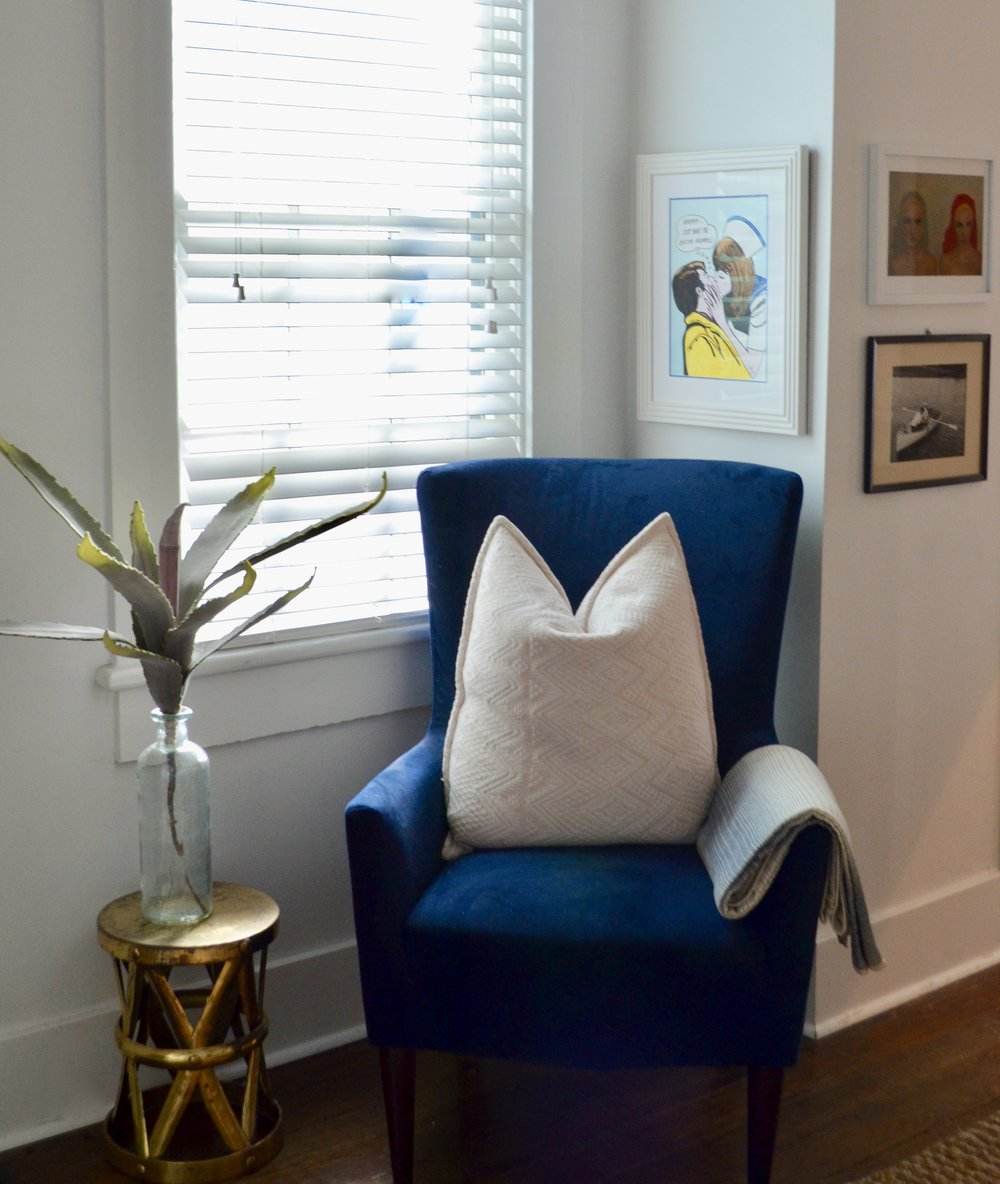 blue velour arm chair