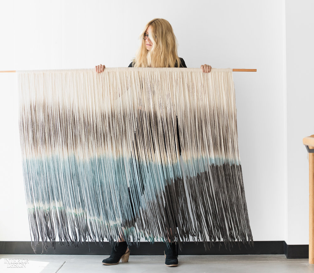 Lauren Williams with one of her fiber works. Photography by Elizabeth Lavin.
