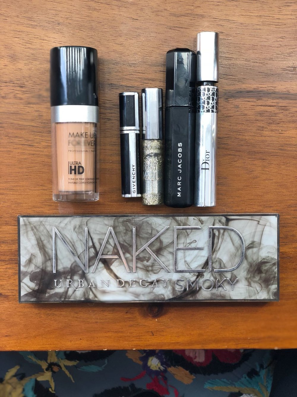 Make up Forever Foundation, Mascara from Givenchy, Marc Jacobs, Dior; Naked Smoky Pallete Urban Decay,