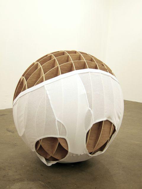 Sphere  2011  Underwear, wood  36 x 36 x 36 inches