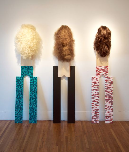 Chaps  2013  Wigs, enamel, wood  72 x 72 x 7 inches