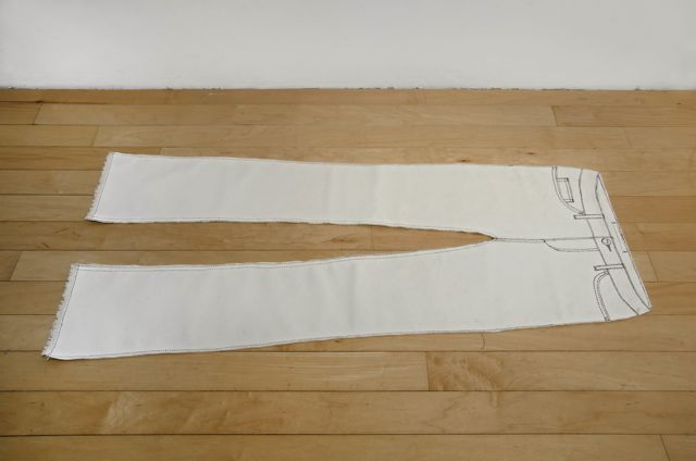 Pants Drawing  2014  Ink on canvas  42 x 17 inches