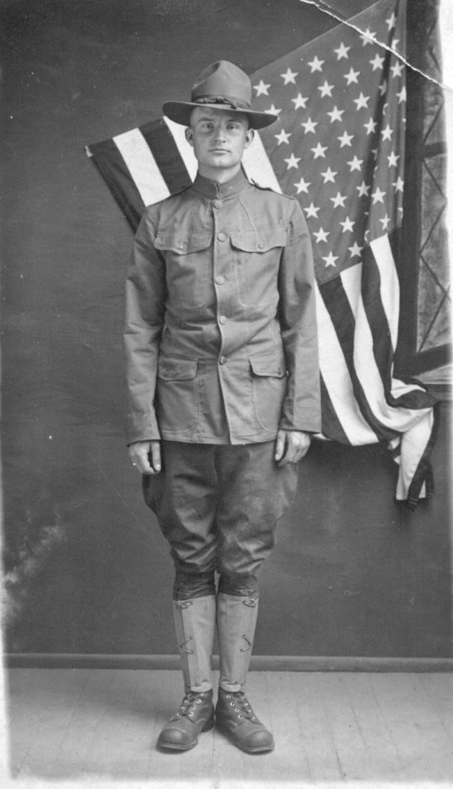 "Louis Rockwell on his first day in ""Uncle Sam's uniform"""