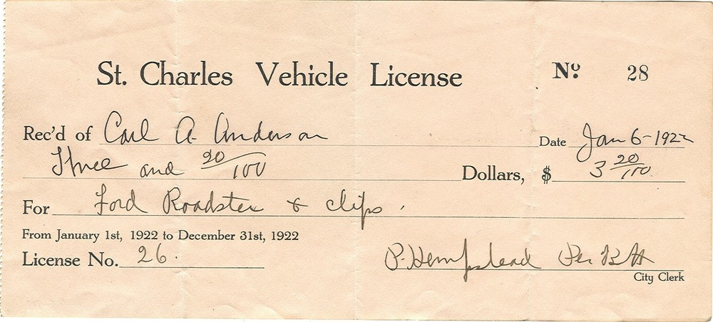 1922 Vehicle License