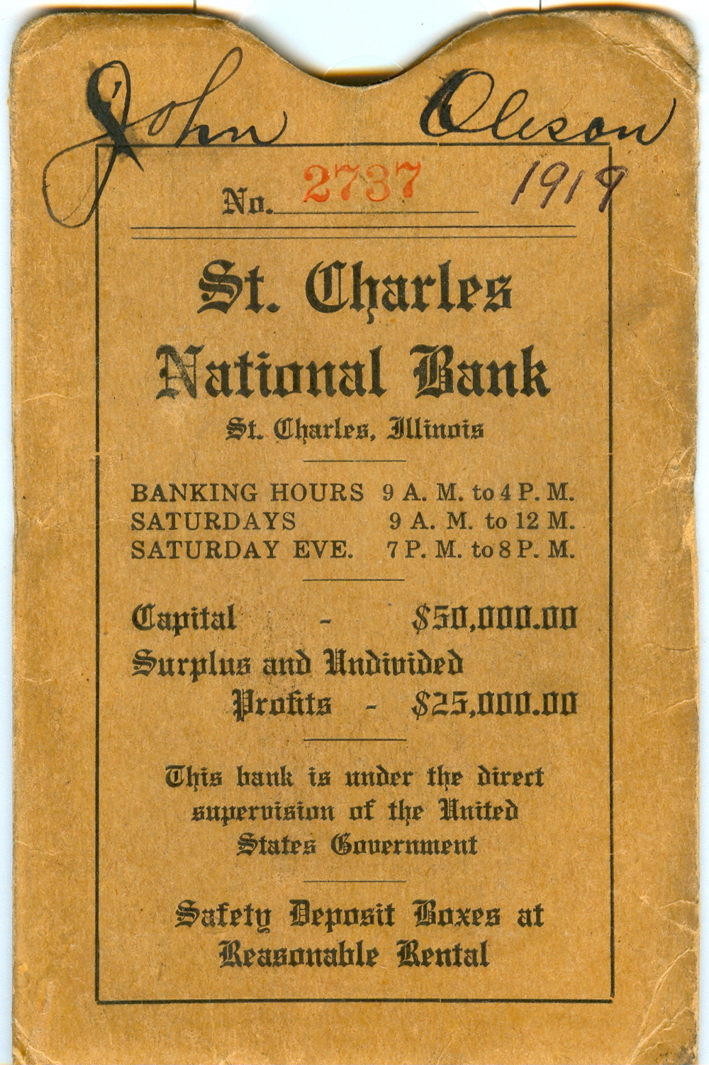 St. Charles National Bank Savings Book Packet, c. 1919