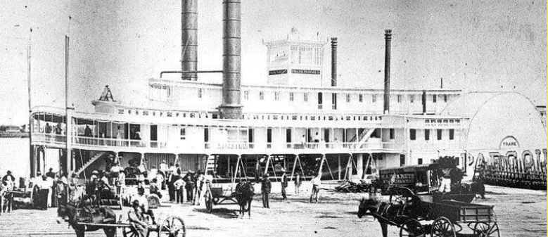 The Frank Pargoud steamboat. John W. Tobin named the J. F. Pargoud after planter and Confederate Civil War General Frank Pargoud. The bell can be seen here perched atop the upper deck of the Frank Pargoud.