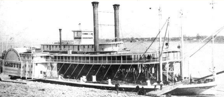 The Chalmette, rebuilt from the wreckage of a previous steamboat, ran the New Orleans to St. Louis packet regularly.