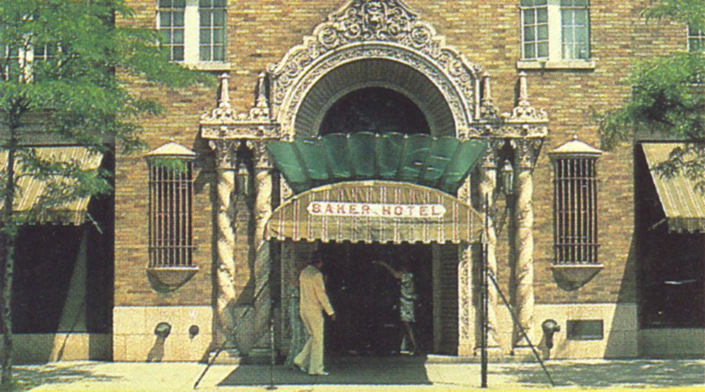 The Hotel during the years as a retirement home. The marquee over the front entrance was eventually removed as it began to deteriorate. The marquee wasn't able to be enjoyed as the architects intended it when the awning extending to the curb was added. Originally, as you walked into the Hotel, you could look up through the scalloped green glass and see the stained glass peacock and look up at the doorway.