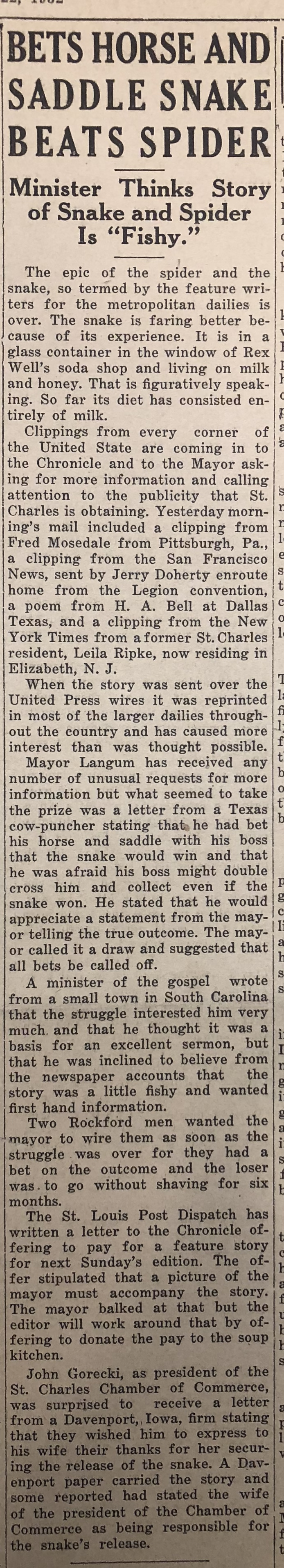 Click to read the full article, St. Charles Chronicle, September 11, 1932.