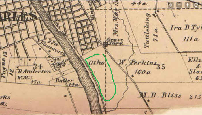 1860's Map of St. Charles showing location of Camp Kane highlighted in Green