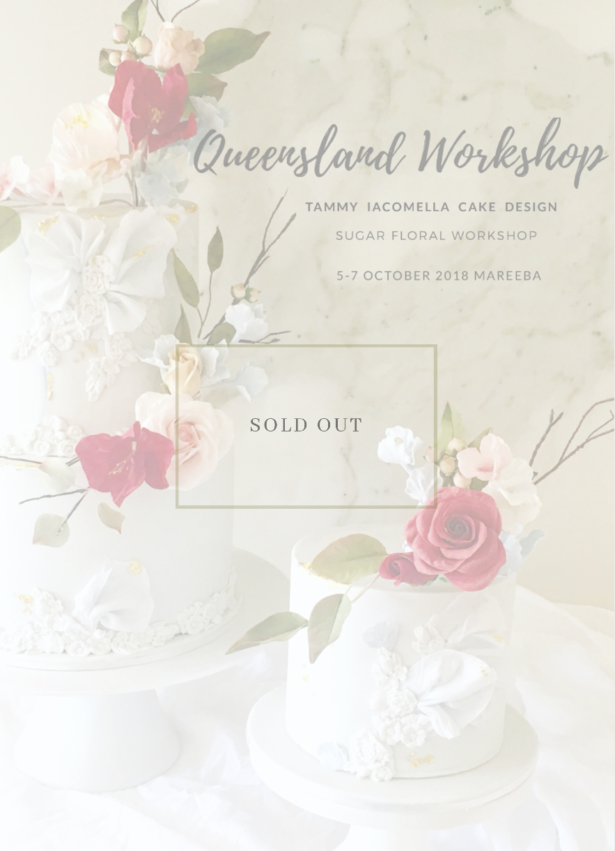 - Queensland WorkshopTammy is delighted to announce she will be travelling to far north Queensland to conduct a weekend of fun, creative sugar crafting workshops.Saturday, 6 October 2018Figurine Workshop 9.30 AM - 4.30 PM andSunday, 7 October 2018Floral Workshop 9.30 AM _ 4.30 PMEnquirieshello@tammyiacomellacakedesign.com