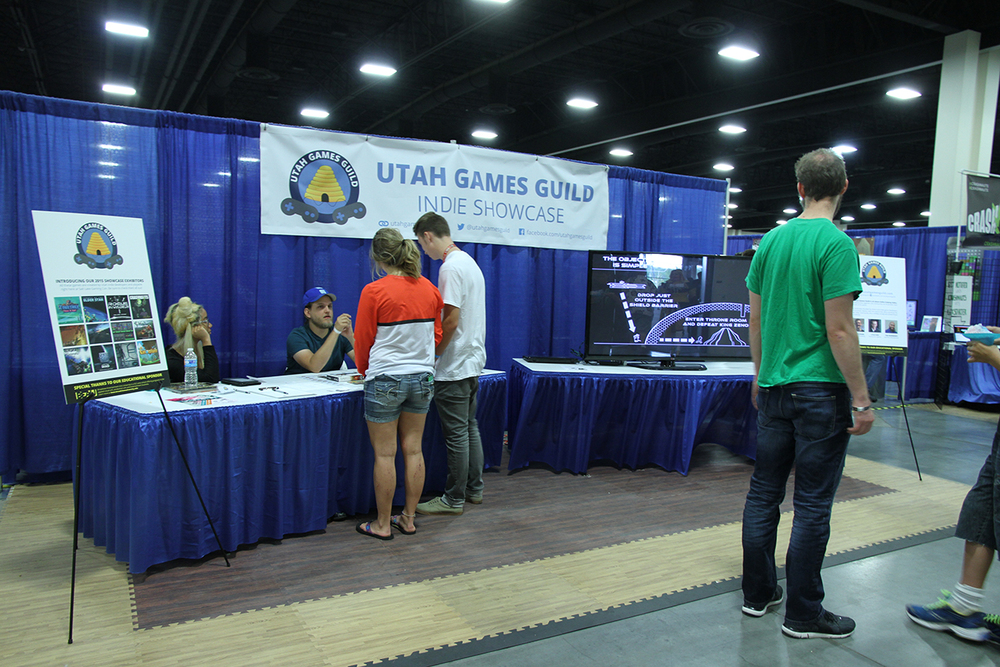 We set up a Utah Games Guild info booth at the front of the show floor, to give attendees a quick overview of our showcase and the Utah dev community. This was  hugely  successful, way beyond what we ever imagined.