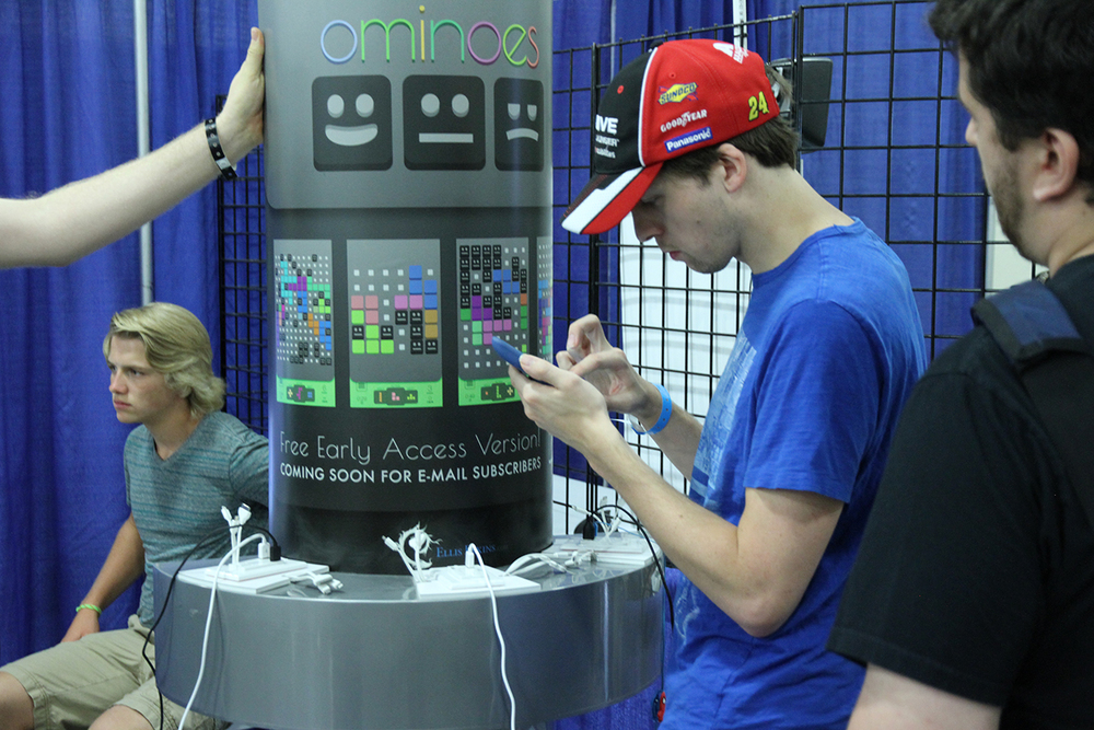 Mobile puzzler Ominoes, by Ellis Elkins, had one of the most creative and professional-looking displays at the show.