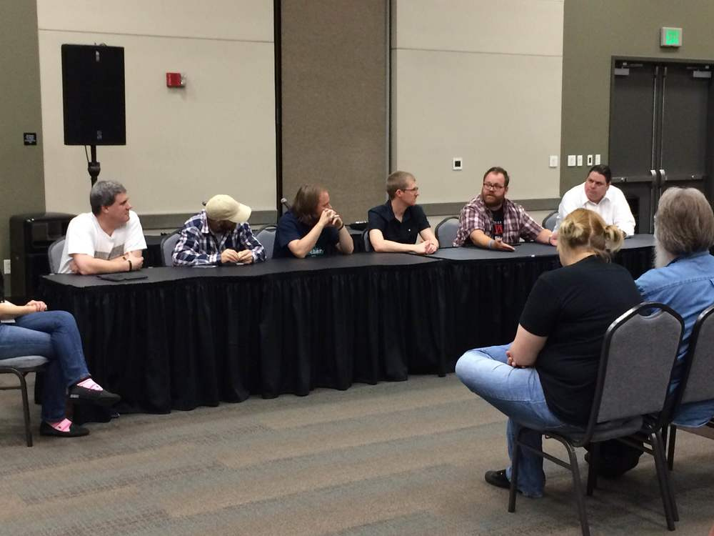 From left to right: Jay Barnson (Rampant Games), Steve Taylor (Wahoo Studios), Lyle Cox (Mount Olympus Games), Josh Sutphin (Kickbomb Entertainment), Roger Altizer (University of Utah, EAE), and Adam Ames (True PC Gaming).