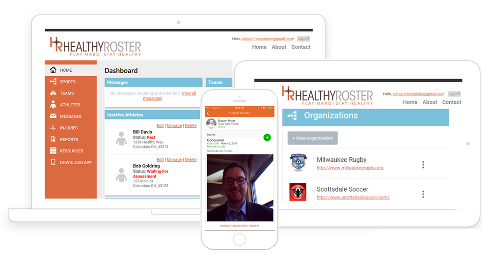 Healthy Roster app on iPhone, iPad, and laptop