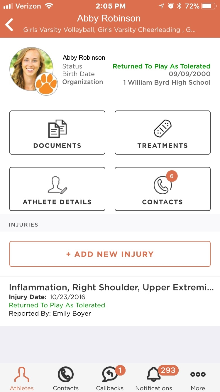 Healthy Roster app displaying athletes list