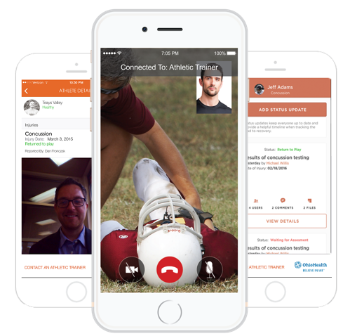 The Healthy Roster mobile app quickly connects you to your child's personal Athletic Trainer.