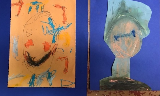 Two students, both Kindergartener, drew portraits of their best friend.  One student liked hard lines, and the other preferred smudging and smearing color.  Each student was able to pick a drawing media that worked for their preference.  Both students are learning about shape and facial proportions, but in their own unique way.