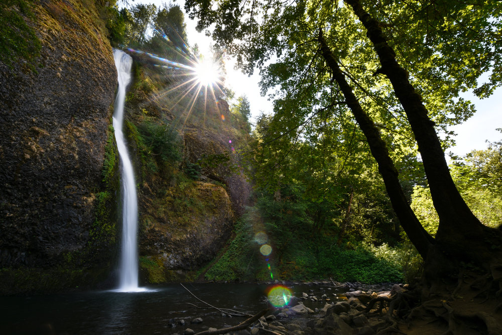 Watching the sun set over Horsetail Falls, Columbia River Gorge, Oregon