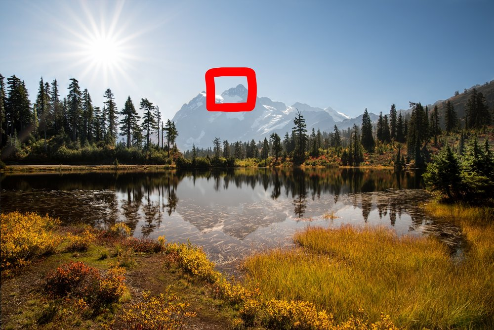 Figure 2: Mount Shuksan from Picture Lake. The red outline represents the peak used as the foreground during the blood moon shown in Figure 4.