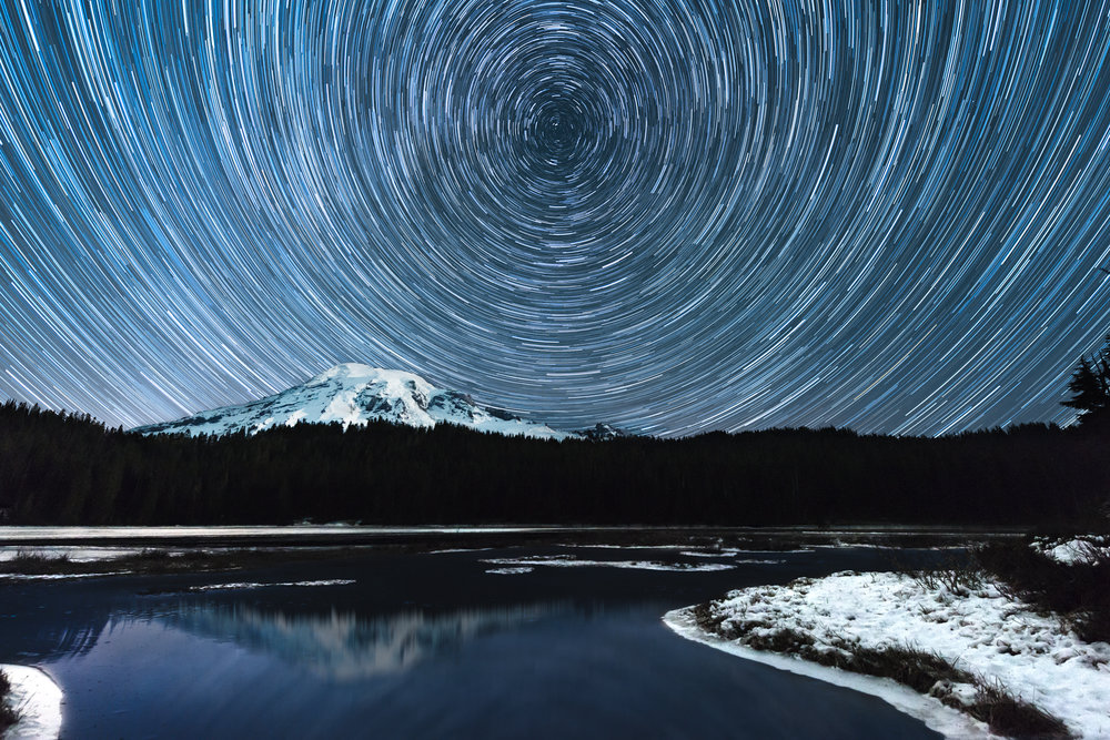 Starry Night at Reflection Lake | Mount Rainier Star Trails | high gloss metal print | 20x30