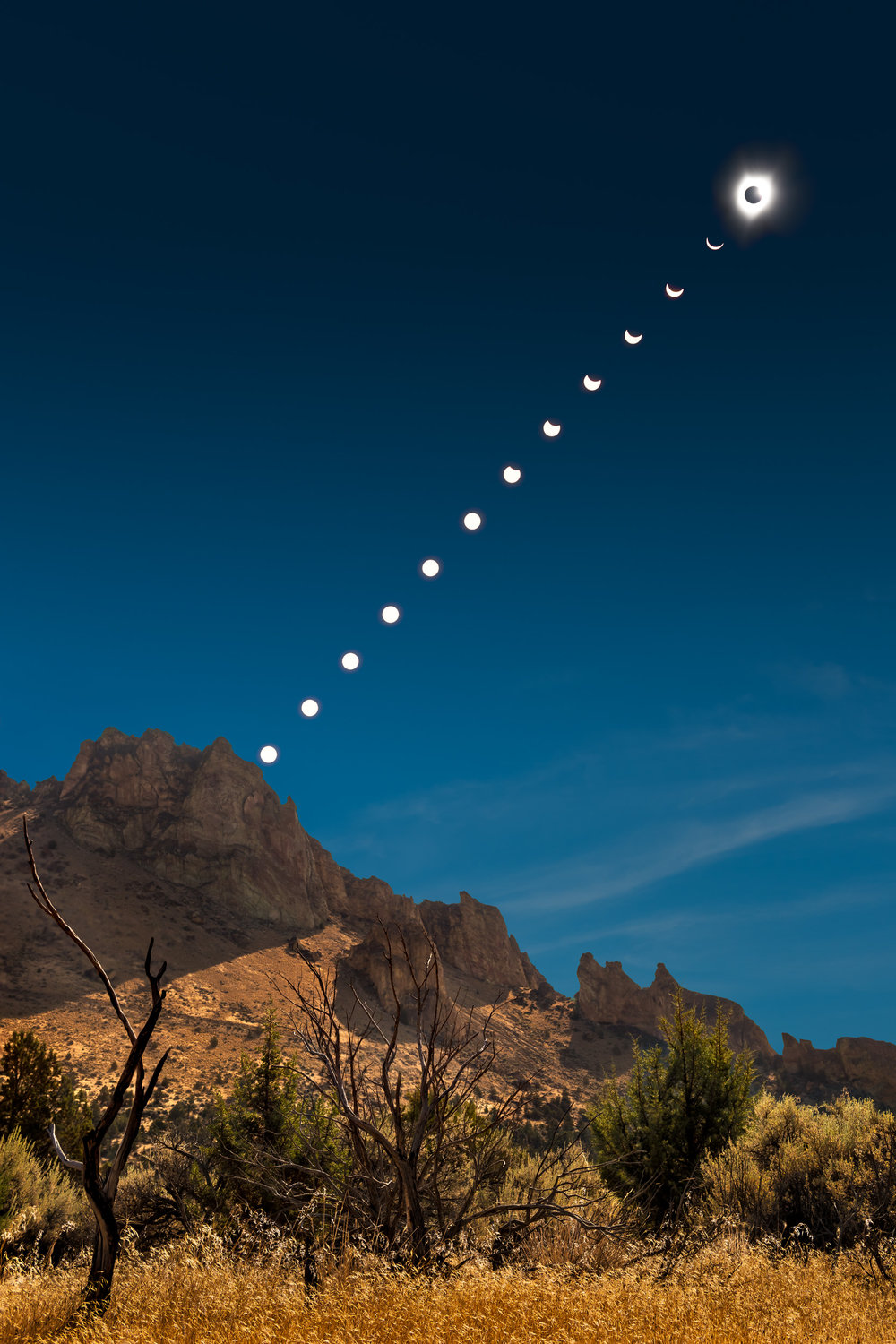 (Click image to enlarge)   The Day the Sun Went Out  | 8x12 | High gloss metal print with hand made shadow mount  2017 Total Solar Eclipse Road Trip, 3 of 3 | Smith Rock State Park, Oregon