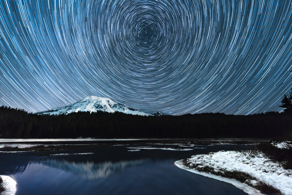 (click image to enlarge)   Starry Night at Reflection Lake  | 20x30 | high gloss metal print with hand made shadow mount  Mount Rainier Star Trails | Paradise, Washington