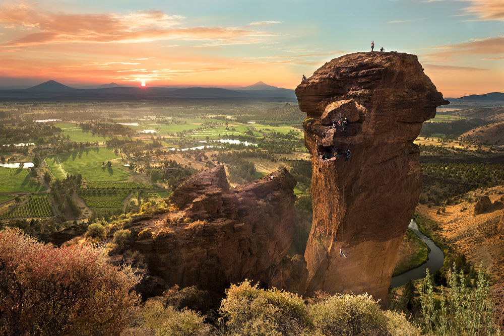 (click image to enlarge)   Sunset at Monkey Face [awarded third place]  | 20x30 | high gloss metal print with hand made shadow mount  A composite of five hours of images | Smith Rock State Park, Oregon