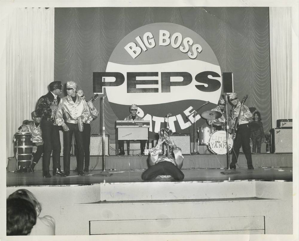 Performing with the Teen Turbans at the 1966 KHJ Big Boss Pepsi Battle of the Bands at the Hollywood Palladium