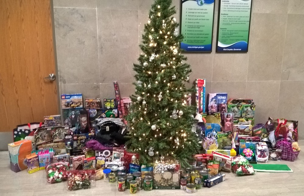 All the gifts under the tree at the Lewis Cass Building in Downtown Lansing