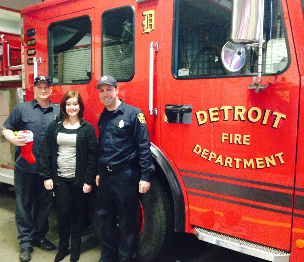 Katie Cupp, Quantam Solutions with two of Detroit's own Firefighters