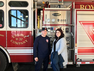 Victoria Staten, Quantam Solutions, with one of Royal Oak's own Firefighters