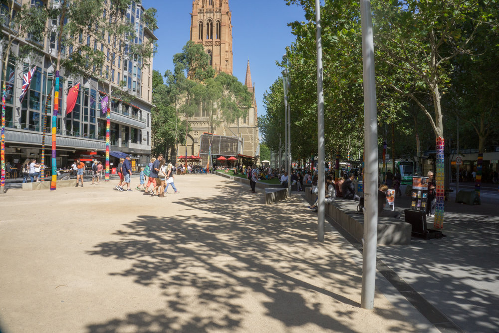 Fig 30: A widened and re-developed footpath in inner Melbourne which is now a social place