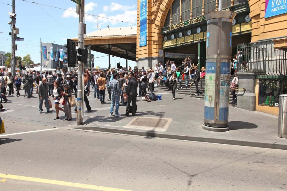 Fig 36: The footpath in front of Flinders Street Station – A claimed space within a larger space (a meeting place.