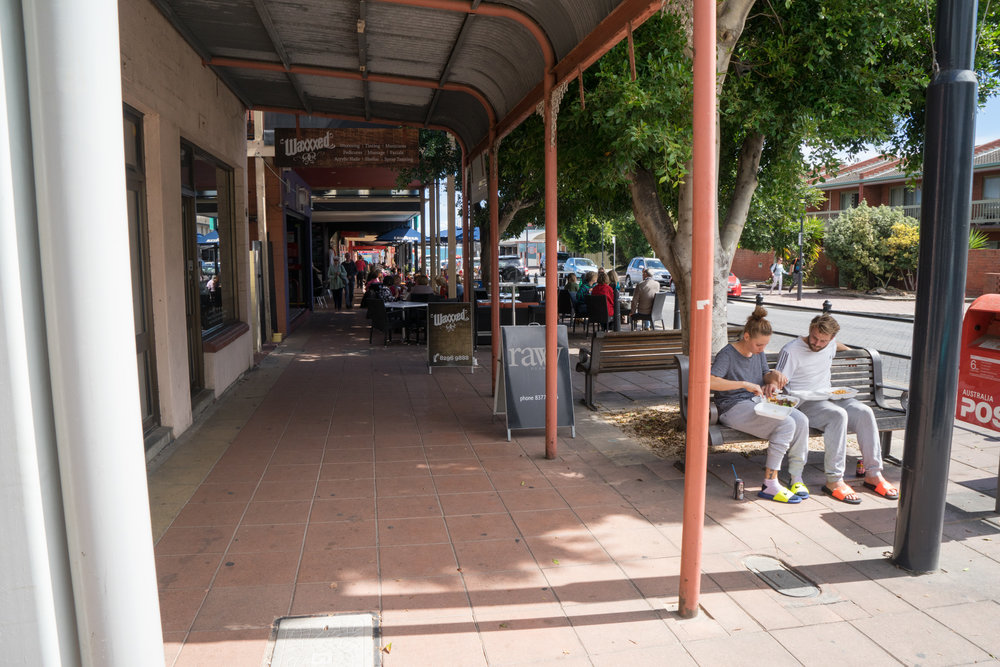 Fig 37: A footpath in Brighton, Adelaide, showing a public seating areas which is a place acquired from the remaining space.