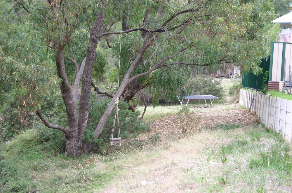 Fig 17: A resident using the adjacent public reserve to locate play equipment (Bunbury WA)