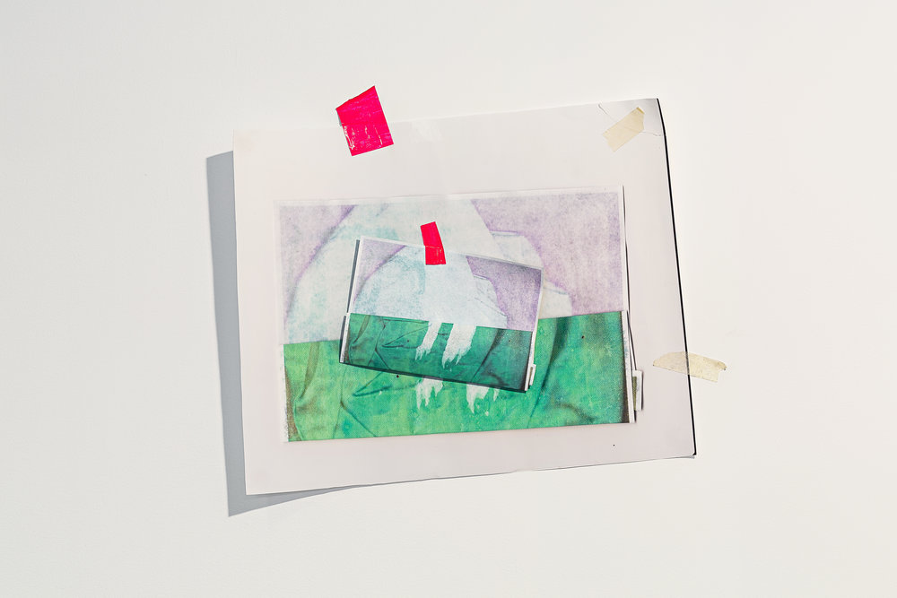 Pillow Case ,inkjet prints on paper, electrical tape, masking tape, 46 x 56cm  Photo: Document Photography   Enquire