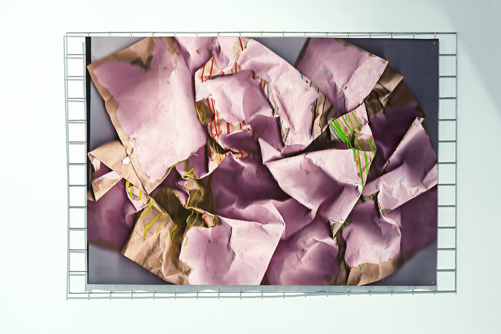 Fish Tank ,acrylic, pastel and pearlescent ink on digital print on paper with mini metal fencing sheet, 61 x 92cm  Photo: Document Photography   Enquire