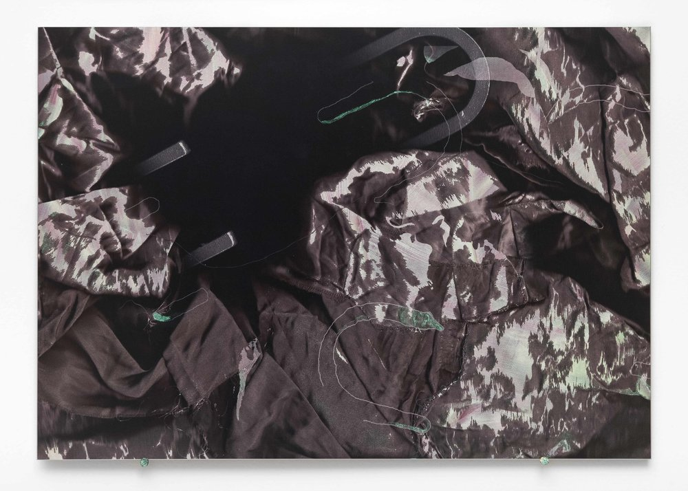 No Hands, iridescent paint and dye-sublimation print on brushed aluminium, 30 x 42cm  Photo: Docqment   Enquire
