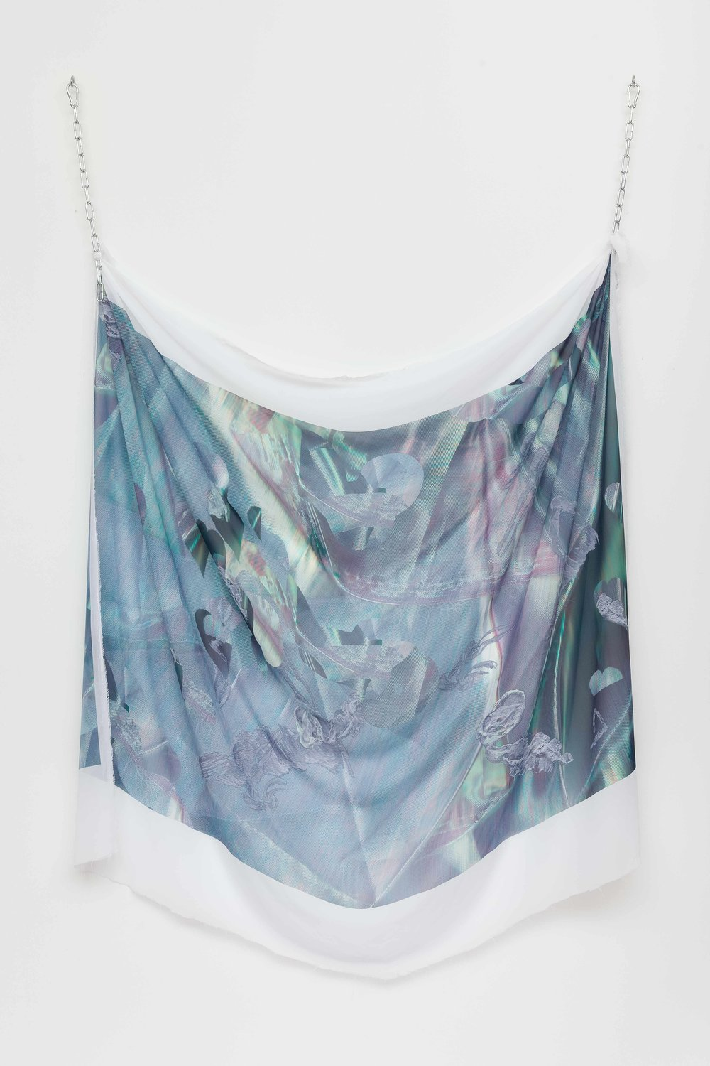 Interference , digital print on chiffon, iridescent paint and metal chains, 160 x 145cm  Photo: Docqment   Enquire
