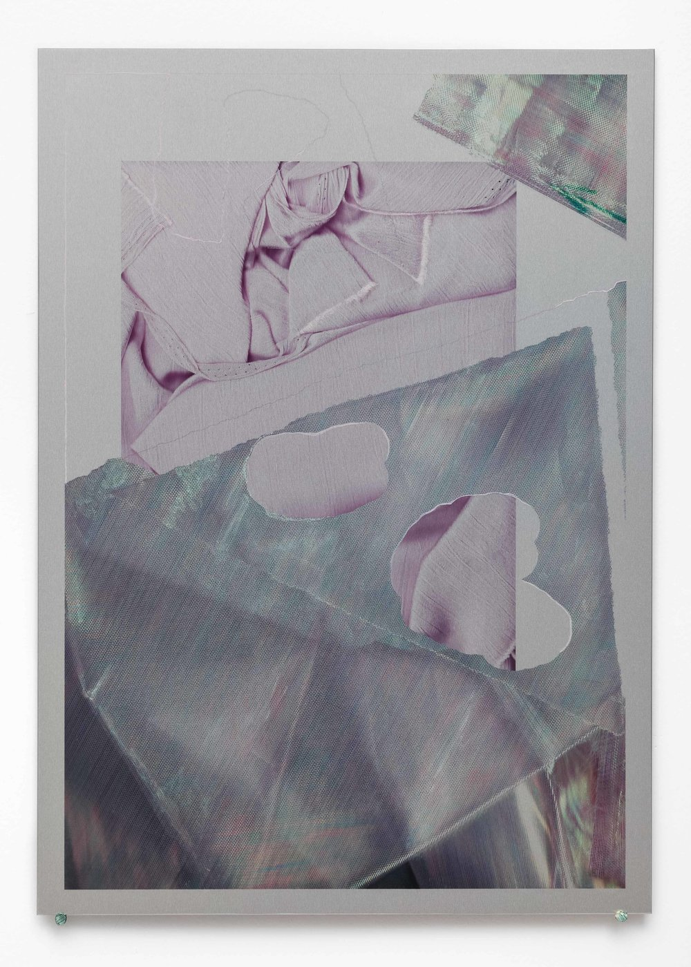 Which Way , iridescent paint and dye-sublimation print on brushed aluminium, 42 x 30cm  Photo: Docqment   Enquire