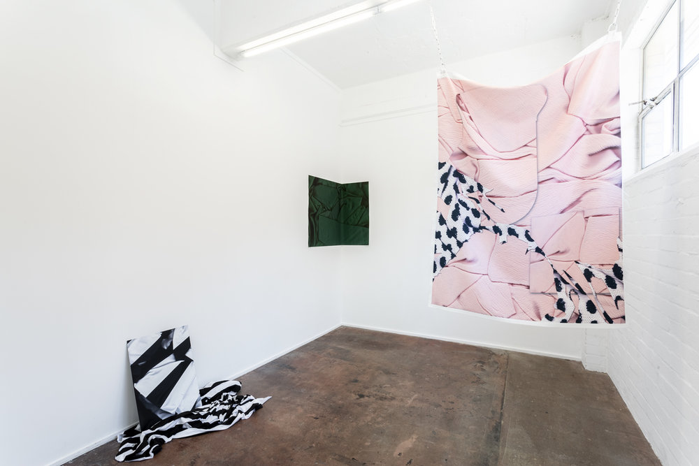 Installation view of exhibition  A Loud Cellophane  at Bus Projects, Melbourne 2018  L-R: WB, Moss Forest, Jumper  Photo: Christo Crocker